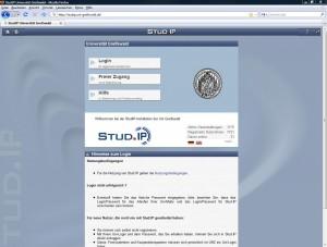 Stud.IP-Portalseite der Uni Greifswald