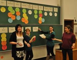 Die vier Studentinnen versuchten, zwischen den Greifswalder Verbindungen anhand von Schlagwörtern zu differenzieren.
