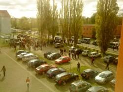 Foto vom Hinterhof des Studentenwohnheims Geschwister-Scholl-Straße