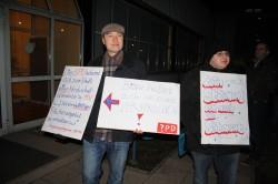 Studierende protestieren gegen unzureichende Finanzierung der Hochschulen.