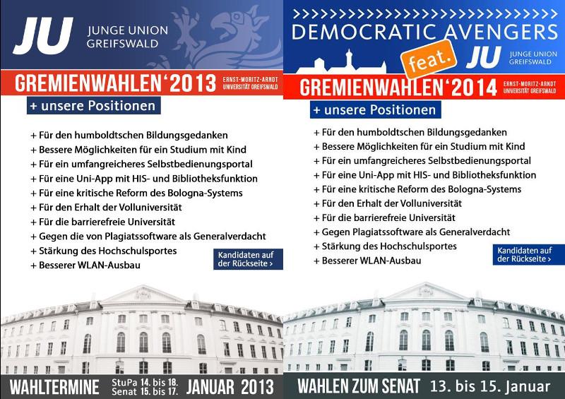 Nichts neues: Die JU-Flyer von 2013 und 2014.