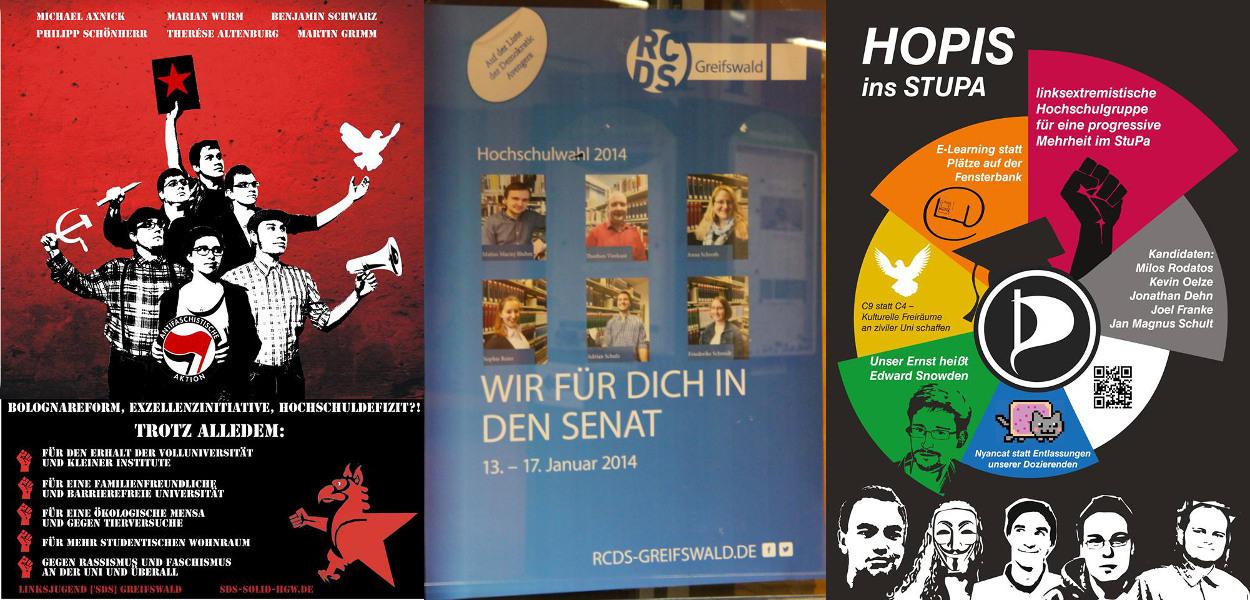 Wahlplakate des SDS, RCDS und der Hoschulpiraten.
