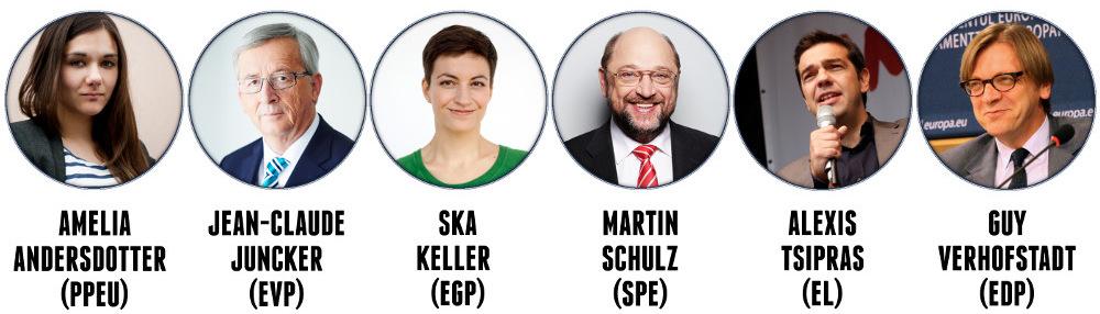Folgende Kandidaten wurden von ihren Parteien nominiert und werden an der Debatte teilnehmen. Zwei Parteien haben eigentlich eine Doppelspitze: Für die Piraten tritt weiterhin noch Peter Sunde an, für die Grünen José Bové.