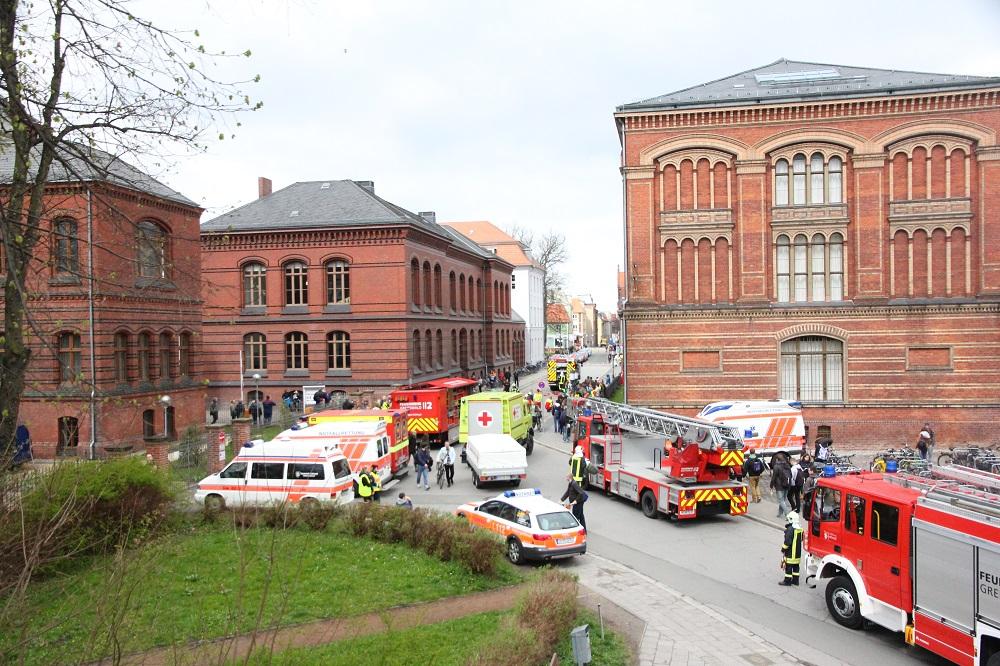 Feuer im Audimax: Uni probt den Notfall
