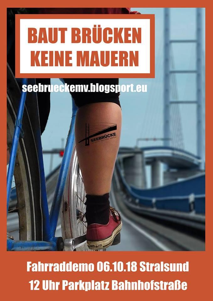 Seebrücke schafft sichere Häfen – Fahrraddemo über die Rügenbrücke